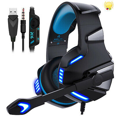 3.5mm Gaming Headset Mic LED V-3 Headphones For PC Laptop PS4 PRO Xbox One X S • 19.95£