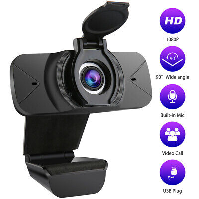 1080P HD Webcam USB Camera With Privacy Cover Microphone For PC Video Meeting UK • 11.04£