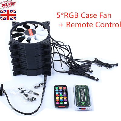 5 Pack RGB LED Quiet Computer Case PC Cooling Fan 120mm With 1 Remote Control UK • 22.50£