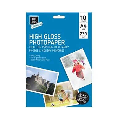 A4 HIGH GLOSS 230gsm QUICK DRYING INJEKT PRINTERS BRIGHT GLOSSY PHOTO PAPER • 2.29£