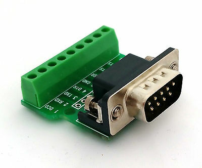 DB9 DSUB 9-pin Male Adapter RS-232 Breakout Board Connector (D1) • 4.75£