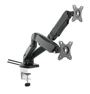 Full Motion Gas Spring Dual Twin Arms Desk Mount Stand For 13 -27  LCD Monitors • 35£