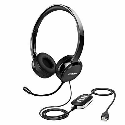Mpow USB 3.5mm Wired Computer Headset Stereo Headphones Mic For Skype PC Laptop • 23.99£