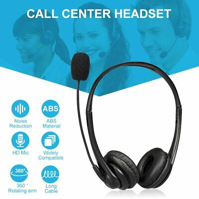 USB Computer Headset Wired Over Ear Headphones For Call Center PC Laptop Skype • 13.81£