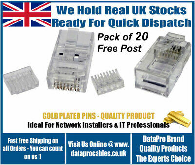 20 X CAT6  RJ45 Network Cable Crimp Plugs With Loading Bars Included Connectors • 5.85£