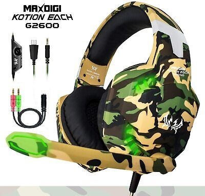 Gaming Headset Mic Headphones For PC Laptop PS4 Slim Pro Xbox One S X • 20.99£