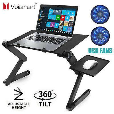 Adjustable Portable Laptop Bed Table Stand Lap Tray Foldable Desk W/ Cooling Fan • 19.59£