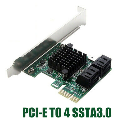 PCI-E PCI Express To 6G SATA3.0 4Port SATA III Controller Expansion Card Adapter • 11.19£