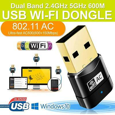 Dual Band 600Mbps 802.11ac 2.4/5GHz PC WiFi USB Adapter Wireless Net LAN Dongle • 5.99£