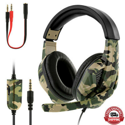 Gaming Headset Camo Stereo Headphone For PS4 PS3 One Laptop 3.5mm W/ Mic UK • 13.78£