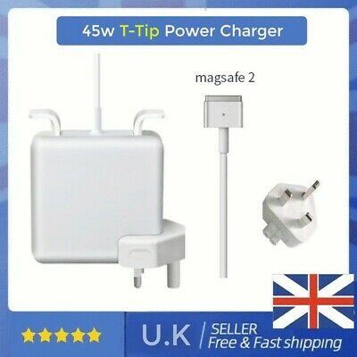 UK 45W T-Tip Mag Safe 2 Power Charger Adapter For Apple Macbook Air 2012-2016 • 19.95£