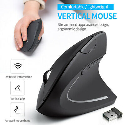 UK 2.4GHz Ergonomic Wireless Vertical Optical Mouse For PC Laptop Computer +USB • 9.47£