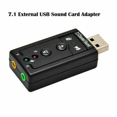 7.1 External USB Sound Card Adapter 3.5mm Audio Jack Virtual For PC Windows10 UK • 2.69£