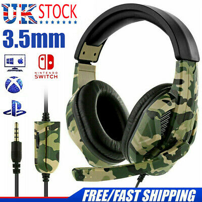 3.5mm Gaming Headset Headphones With MIC For PC Mac Switch Laptop PS4 Xbox One • 14.49£