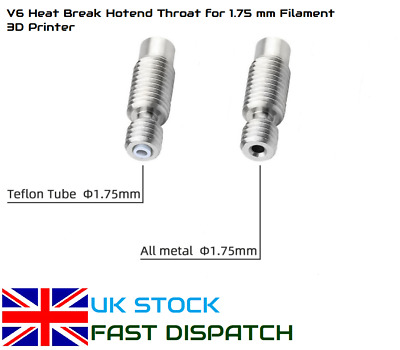 V6 Heat Break Throat For 1.75mm All-Metal / PTFE For E3D 3D Printer Bowden UK  • 3.99£