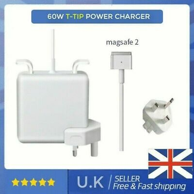 UK 60W Mag Safe2 T-Tip Power Adapter Charger For Apple Macbook Pro 13  15  17  • 19.95£