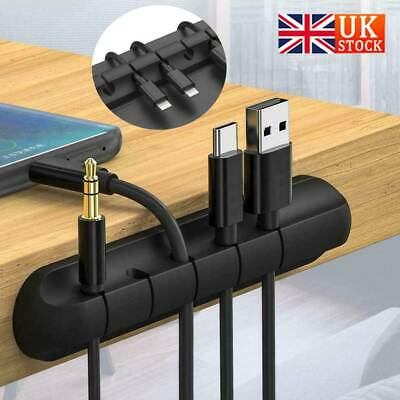 Black Charger Holder Fixer Cable Drop Clip Desk Tidy Organiser Wire Cord Lead UK • 3.55£