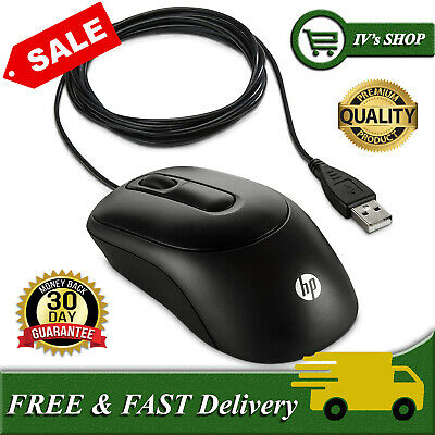 HP Standard Wired Optical Mouse Windows PC Mac Laptop Scroll USB - Plug In & Go • 8.54£
