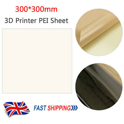 PEI Sheet 3D Printer Base Build Surface Adhesive For CR10 CR-10S 300x300mm G4O1 • 11.99£