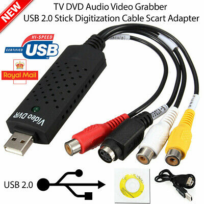 USB 2.0 Audio TV Video VHS To PC DVD VCR Converter Easy Capture Card Adapter UK • 5.99£