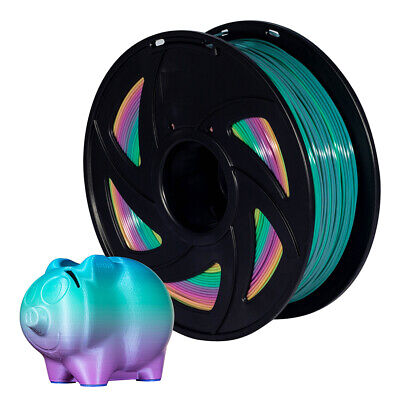 3D Printer Colorful 1.75mm PLA Changing Filament 1kg Rainbow Multicolor Spool • 15.99£