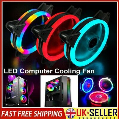 120mm 4-Pin Computer Case PC RGB CPU Cooling Fan LED Lights Quiet Clear Cooler • 7.02£