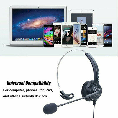 Headset Wired With Microphone MIC Computer Headphones For Call PC Laptop UK • 9.99£
