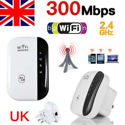 UK Plug WiFi Signal Booster Repeater Extender Wireless Range Amplifier Network • 10.99£