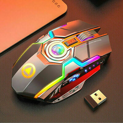 Wireless Mouse Gaming Led Laser Usb Optical Game Rechargable Silent Laptop Uk • 11.59£
