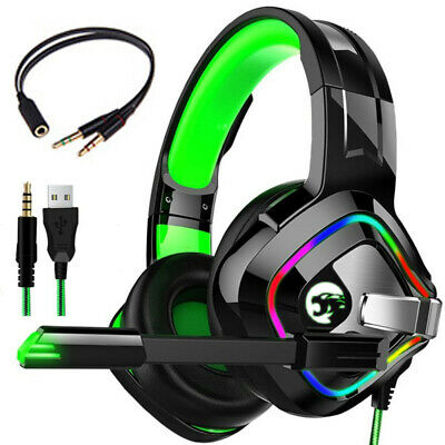 RGB LED Gaming Headset Headphone For PC Mac Nintendo Switch Laptop PS4 Xbox One • 18.97£