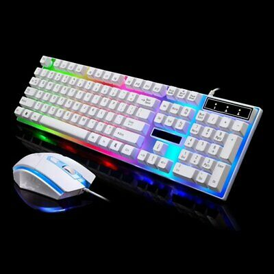 Gaming Keyboard And Mouse Set Rainbow LED Wired USB For PC PS4 Xbox One And 360 • 14.99£