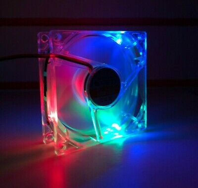 8cm 80mm LED Multi Coloured Computer Case Fan Cooling DC 12V Silent 4 Pin • 4.99£