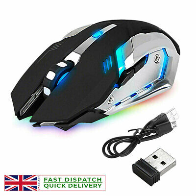 Led Laser Usb Wireless Optical Game Gaming Mouse Rechargable X7 • 8.49£