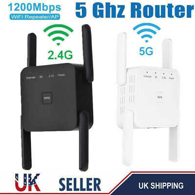 1200Mbps Dual-Band Wifi Extender Repeater Wireless Router Range Signal Booster • 19.89£