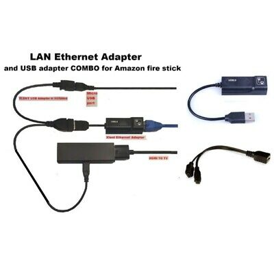 LAN Ethernet Connector & OTG USB Cable Adapter Set For Amazon Fire Stick 4K TV • 7.29£