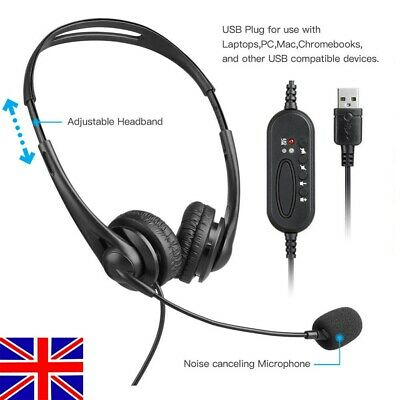 Office Headset USB Noise Cancelling Headphone W/Mic Call Centre Office Telephone • 11.99£