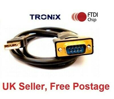 USB To Serial Adapter FTDI - Pro Gold Plated 90cm RS232 Cable WINDOWS 7 - 10 UK • 10.99£
