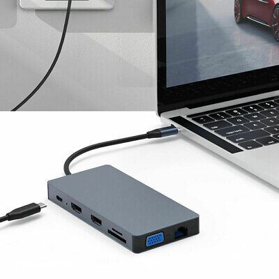 12 In 1 Type C USB 3.0 Laptop Docking Station HDMI VGA PD USB Hub For Notebook • 32.69£