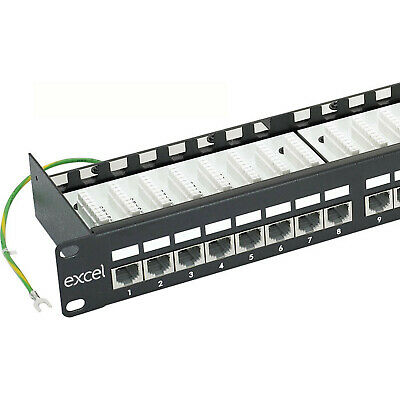 Excel 1U 24 Port 19  Inch Ethernet Cat 6 Patch Panel Screened Rack Mountable • 116.99£