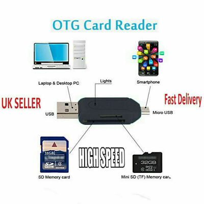 Type C SD Card Reader For Android Tablet PC Micro USB OTG To USB 3.0 2.0 Adapter • 4.98£