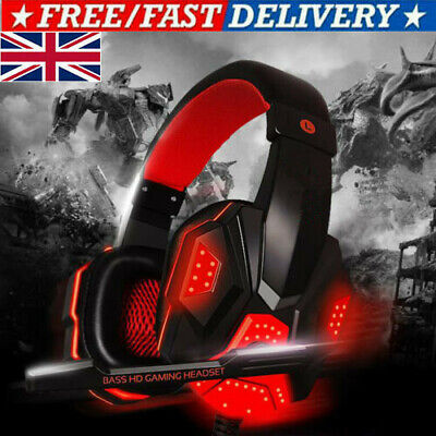 Gaming Headset USB Wired Over LED Headphones Stereo With Mic For Xbox One/PS4 PC • 10.99£