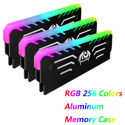 PC Memory RAM Cooler Cooling Vest Heat Sink 256 RGB Light Aluminum Hea TLE Od • 8.99£