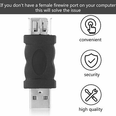 Portable Firewire IEEE 1394 6 Pin Female To USB Type A Male Adaptor Adapter ZX • 4.73£