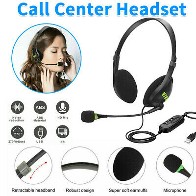 USB Computer Headset Wired Over Ear Headphones For Call Center PC Laptop Skype • 7.89£