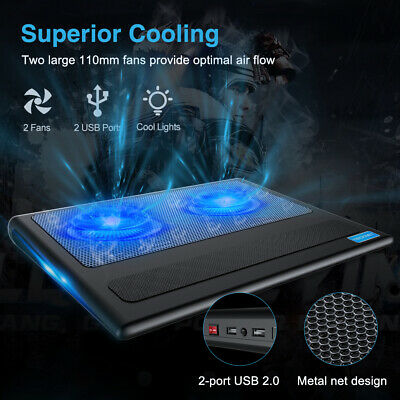 TECKNET Laptop Cooling Pad 2USB Powered Fans Slim Quiet Cooler Mat Fit 12 -16  • 14.85£
