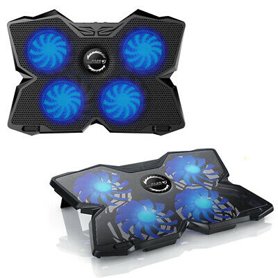 4 Powerful Fans Laptop Cooler Gaming Cooling Mat Pad Stand Tilt For 12-17  PC UK • 13.59£