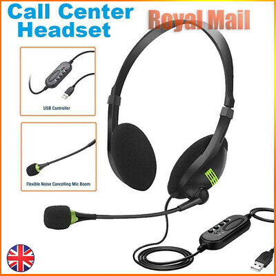 USB Headset Noise Cancelling Headphone & Microphone PC Laptop Call Office UK • 7.59£