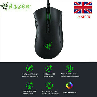Razer DeathAdder V2 Wired USB Gaming Mouse 8500DPI Optical Sensor Gaming Mice • 26.29£