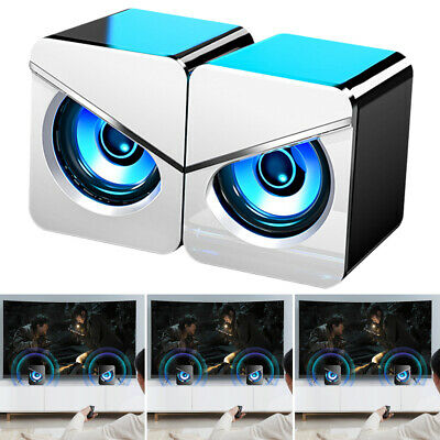 Surround Sound LED PC Speakers Gaming Bass USB Wired For Desktop Computer Laptop • 10.16£