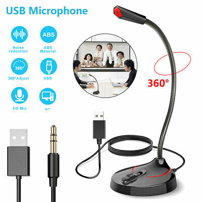 360° Universal USB/3.5mm Microphone Mic For PC Stand Desktop Gaming Laptop • 11.59£